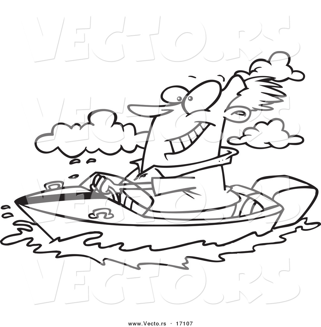 Vector Of A Cartoon Man Boating