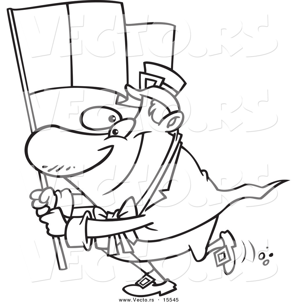 vector of a cartoon man carrying an irish flag coloring page