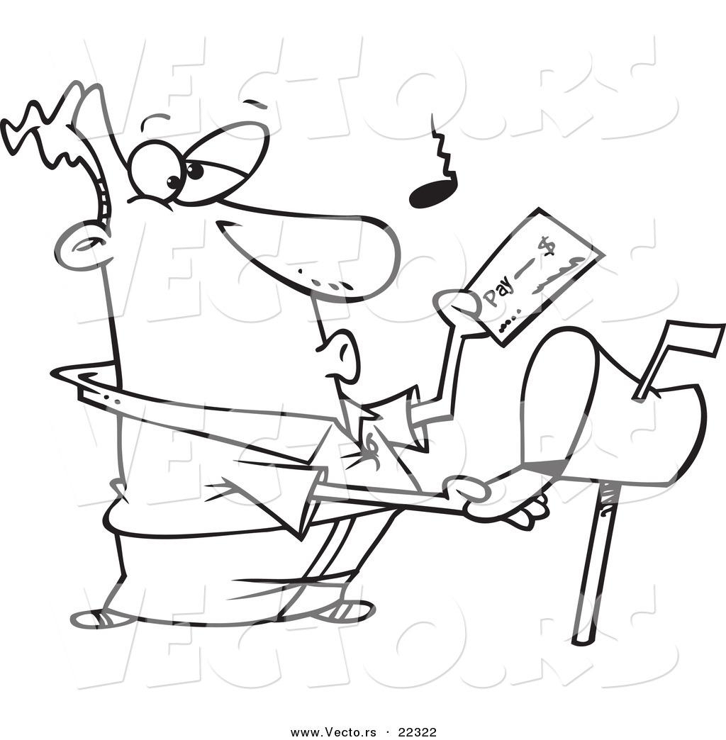 Vector Of A Cartoon Man Checking His Mail