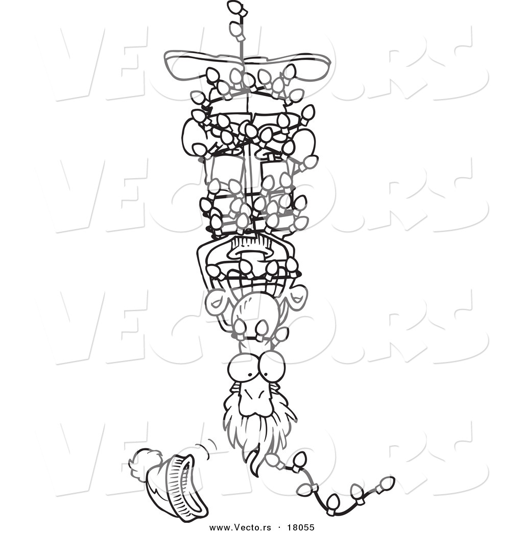 Vector Of A Cartoon Man Hanging Upside Down And Tangled In Christmas Lights Outlined Coloring Page By Toonaday 18055
