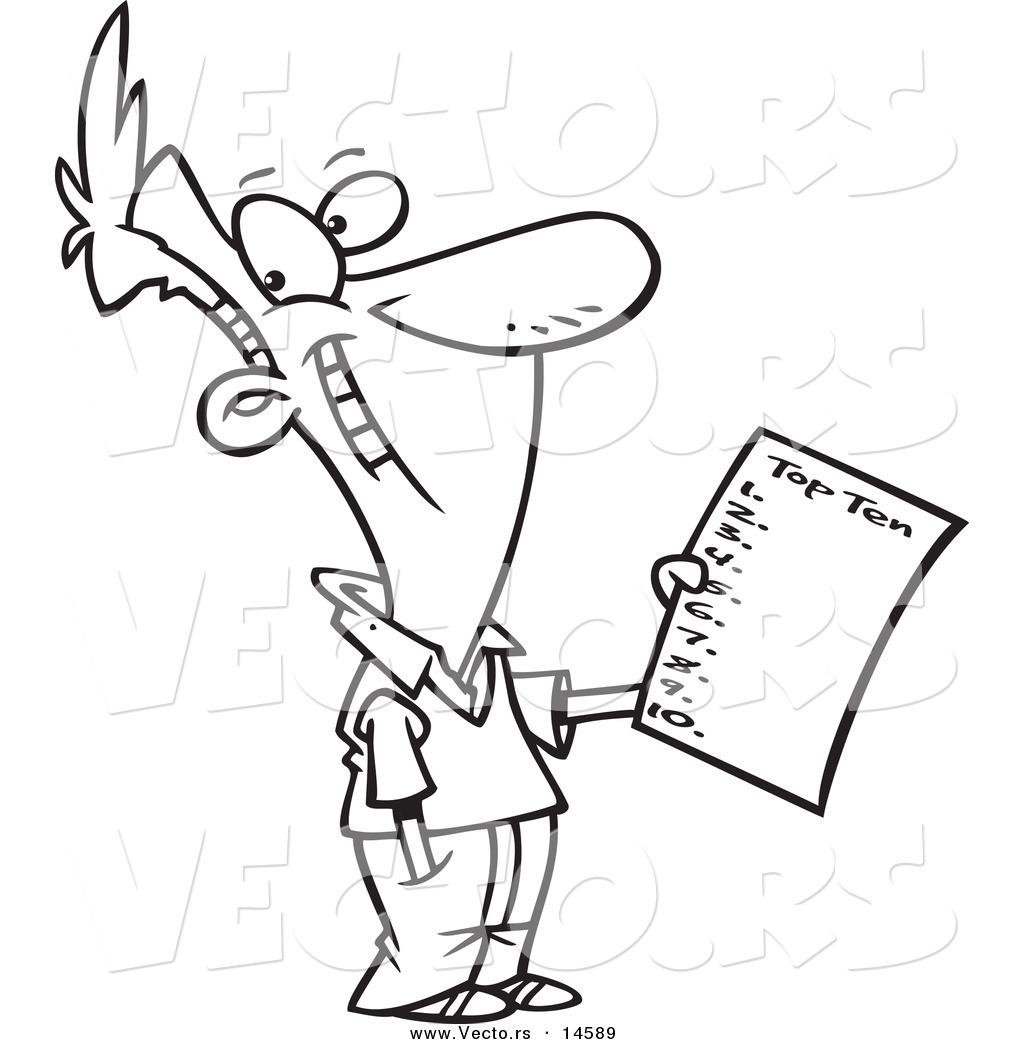 Vector Of A Cartoon Man Holding A Top Ten List