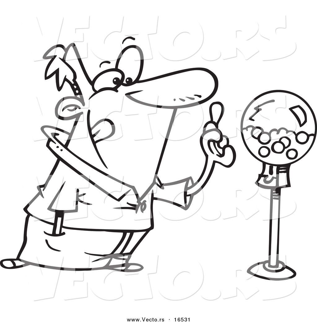 Vector Of A Cartoon Man Holding Gum By A Gumball Machine