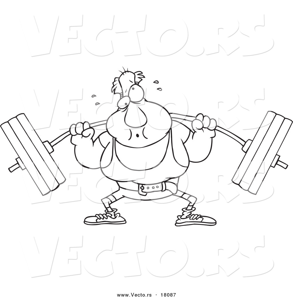 Vector Of A Cartoon Man Lifting A Barbell