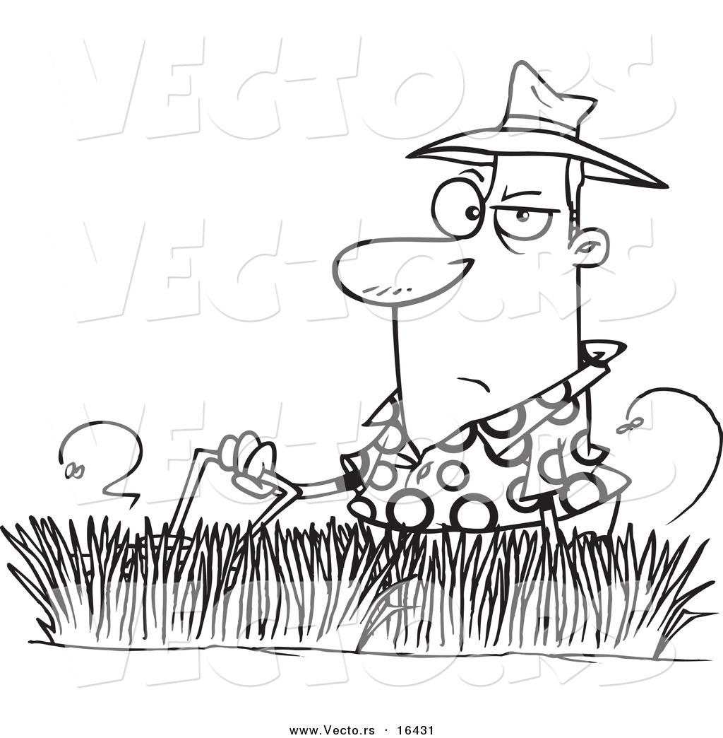 vector of a cartoon man mowing tall grass outlined coloring page