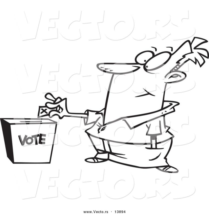 vector of a cartoon man putting his ballot into a vote box