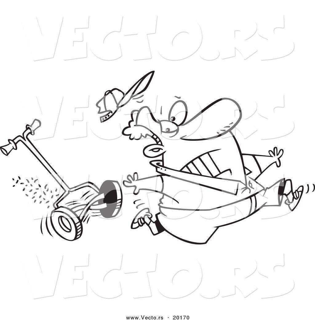 Vector Of A Cartoon Man Running From A Lawn Mower