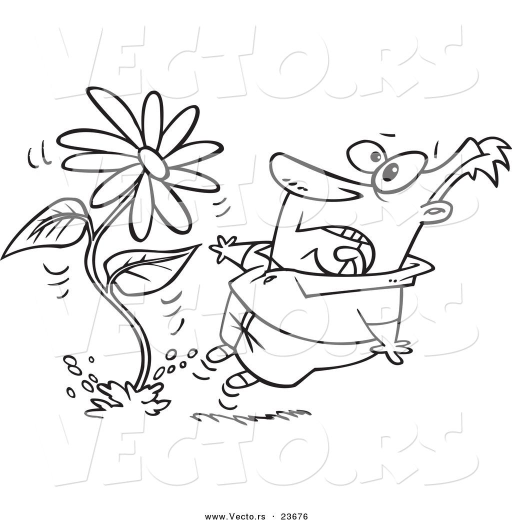 Vector Of A Cartoon Man Screaming At A Giant Daisy