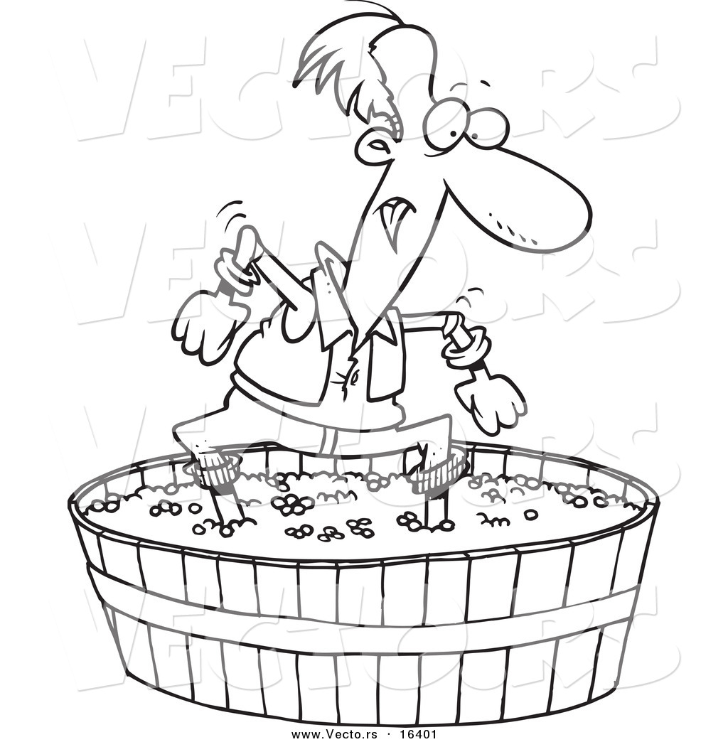 Wine Barrel Clip Art Black And White Sketch Coloring Page