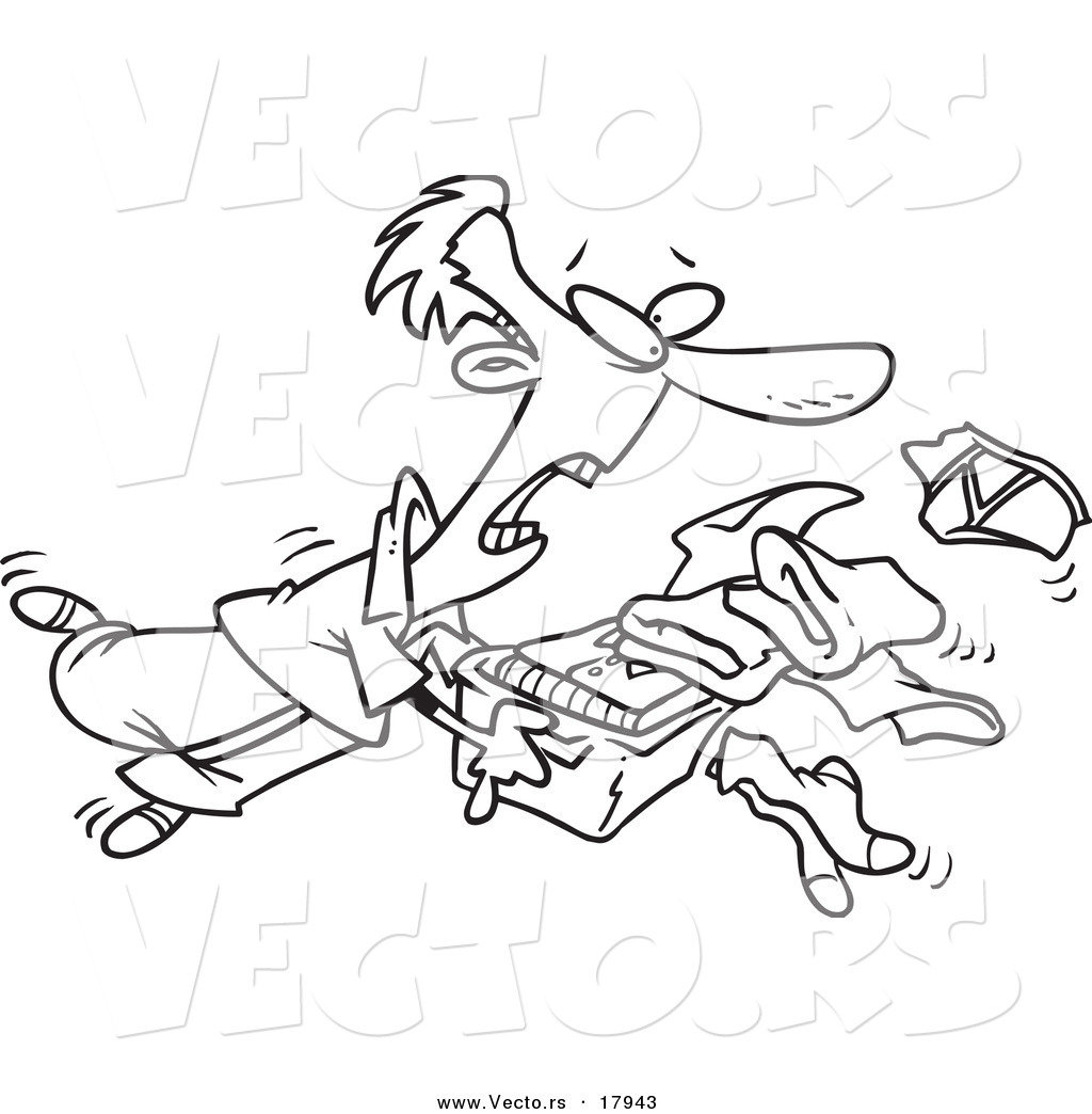Vector Of A Cartoon Man Tripping And Dumping Folded