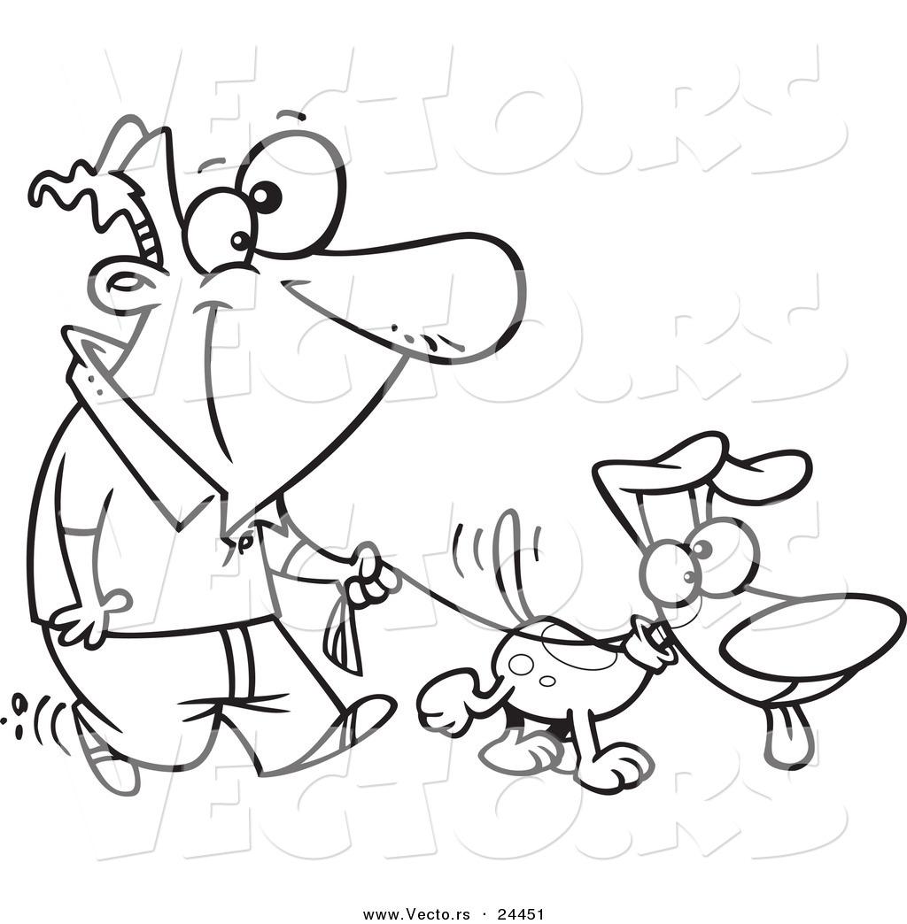 Vector Of A Cartoon Man Walking His Dog On A Leash