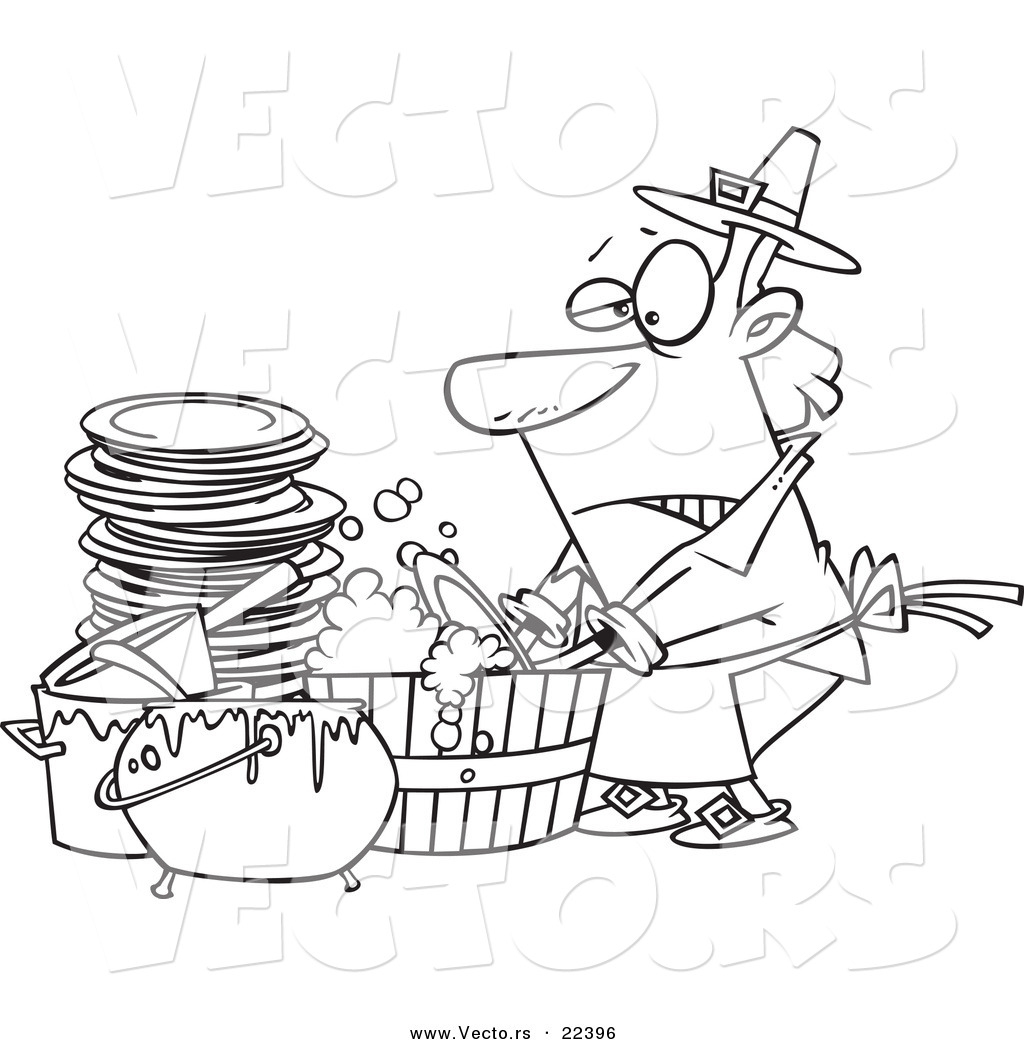 Vector Of A Cartoon Man Washing Dishes In A Barrel