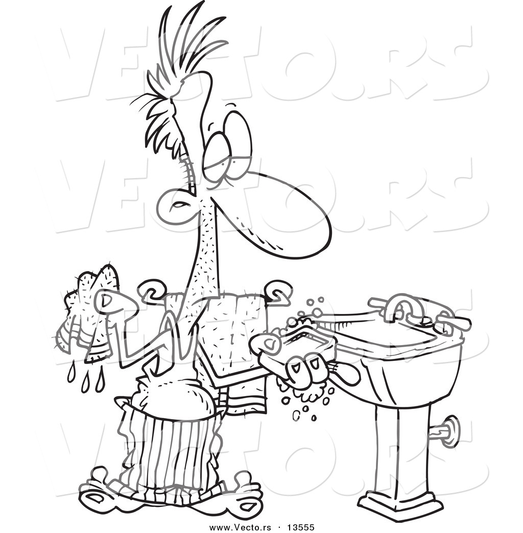 Vector Of A Cartoon Man Washing His Hands With Soap And A