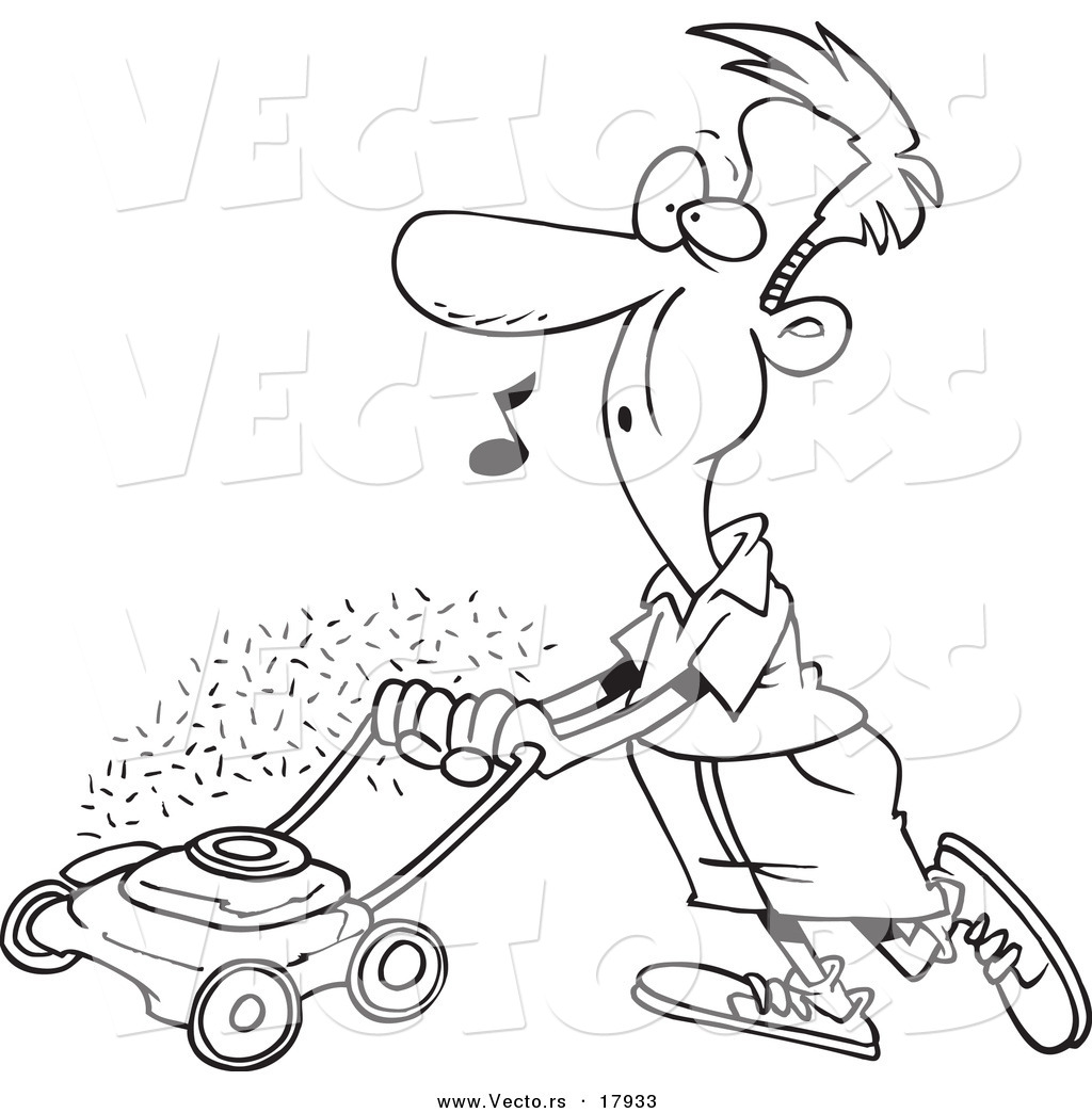 Vector Of A Cartoon Man Whistling And Mowing His Lawn