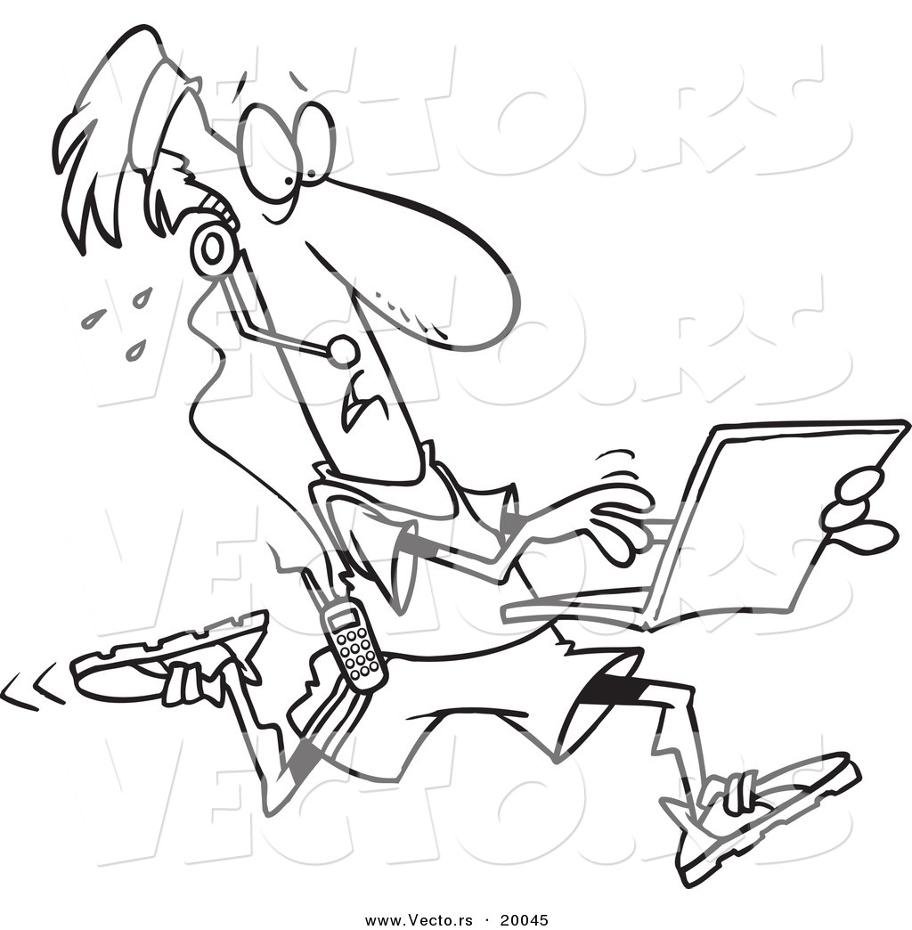 of a cartoon mobile jogger using a laptop outlined page