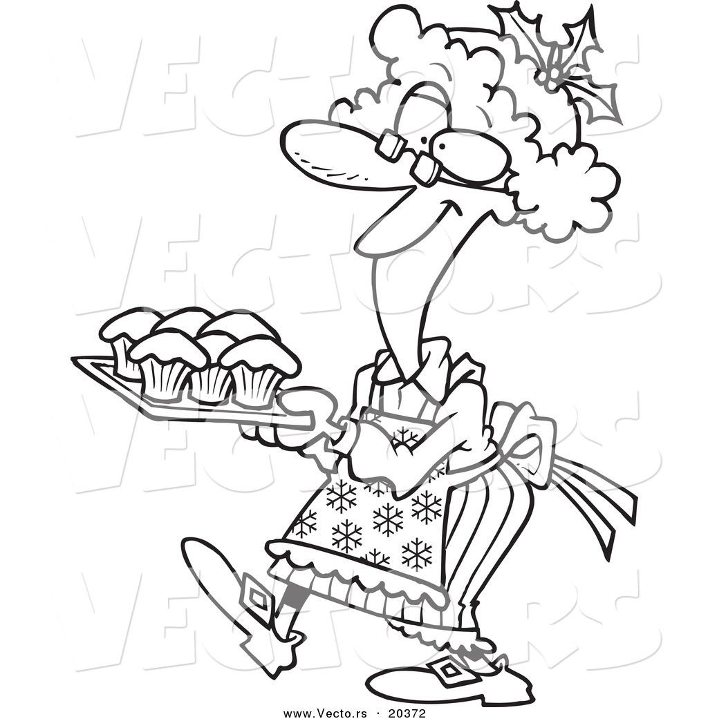 Vector Of A Cartoon Mrs Claus Baking Cupcakes