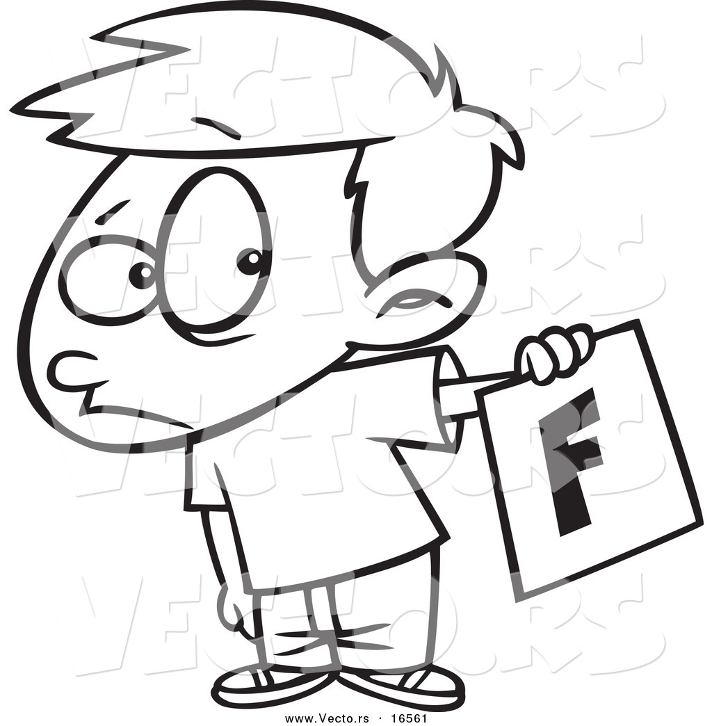 Vector Of A Cartoon Nervous School Boy Holding Out A Bad