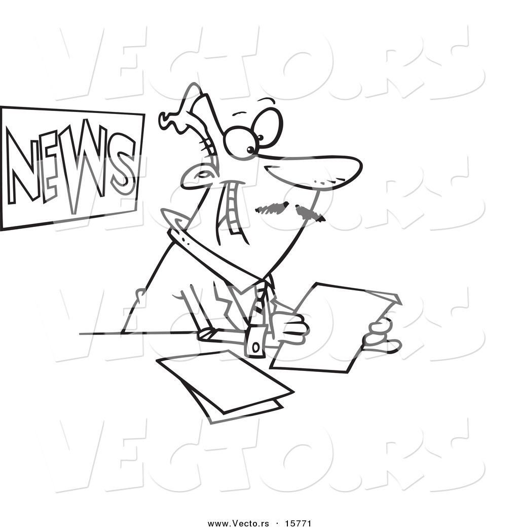 Vector Of A Cartoon News Anchorman Reading