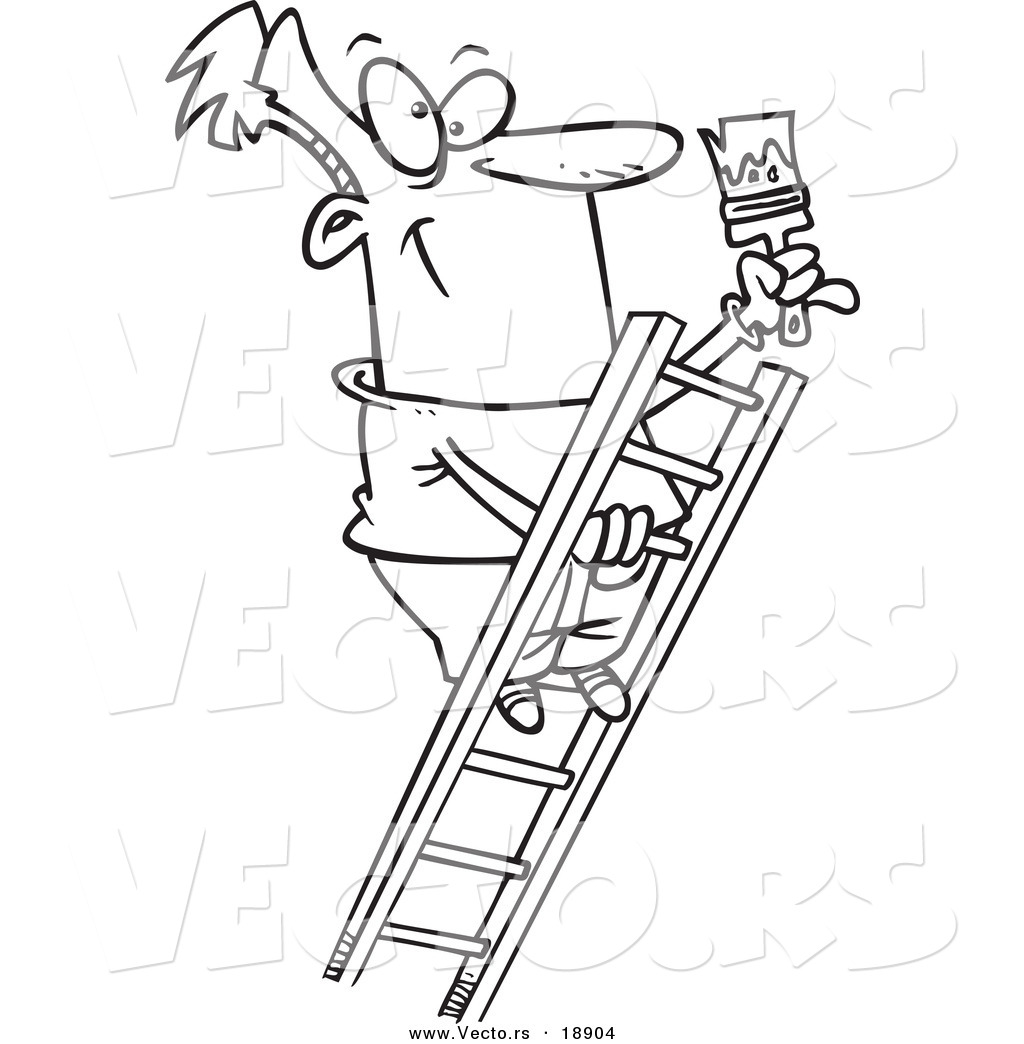 Vector Of A Cartoon Painter Climbing A Ladder