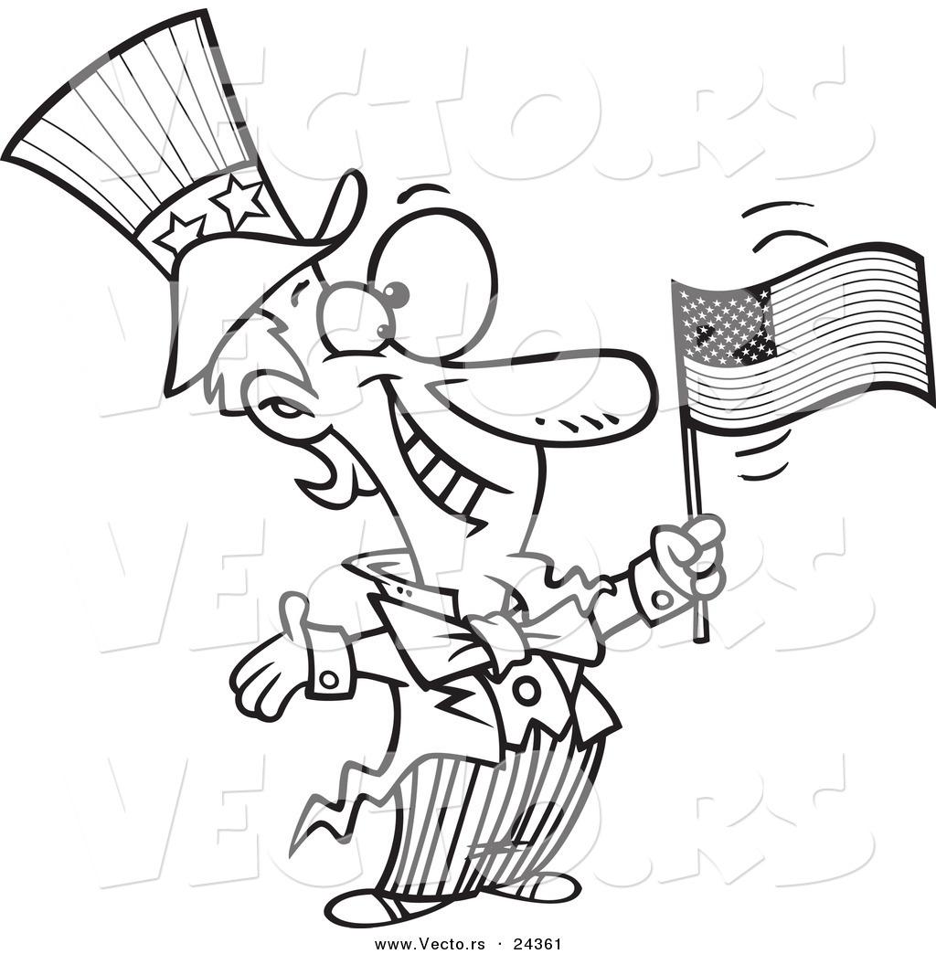 Vector Of A Cartoon Patriotic Uncle Sam