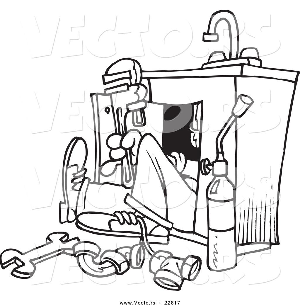 Vector Of A Cartoon Plumber Under A Sink