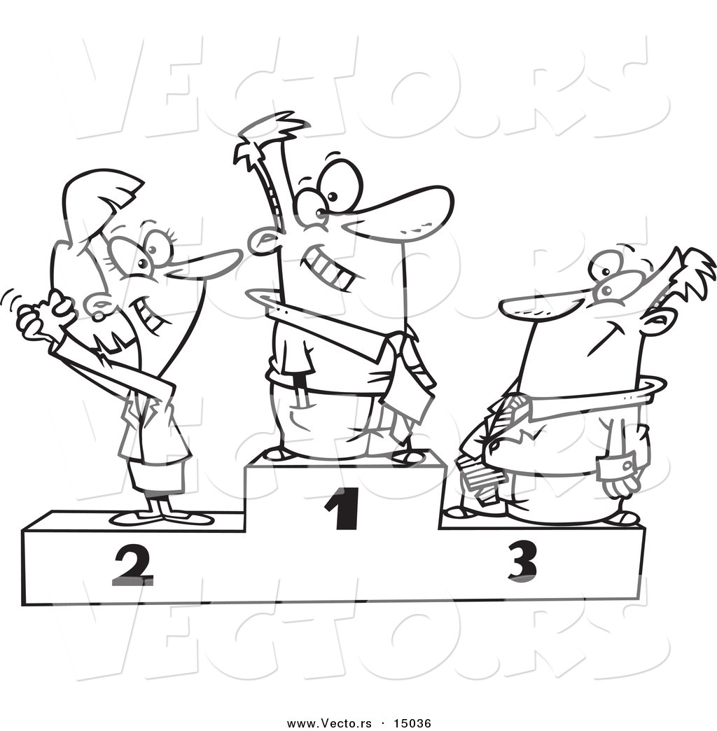 Vector Of A Cartoon Podium Of First Second And Third Place Business People