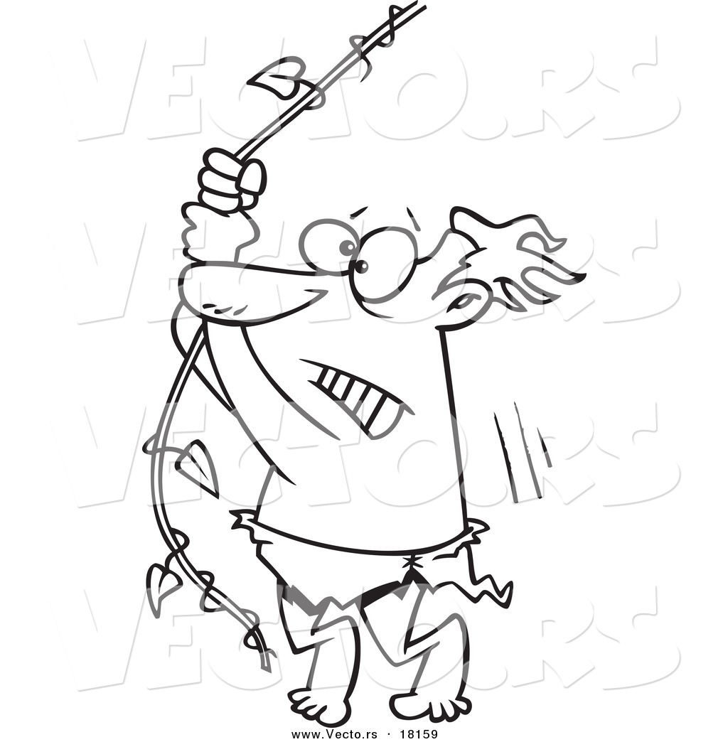 Vector Of A Cartoon Reluctant Man Swinging On A Vine