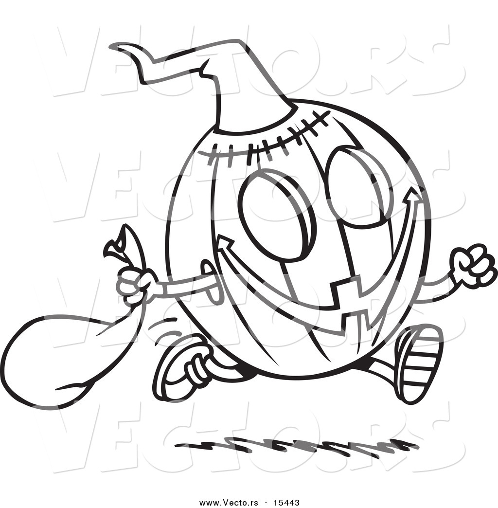 Vector Of A Cartoon Running Halloween Pumpkin