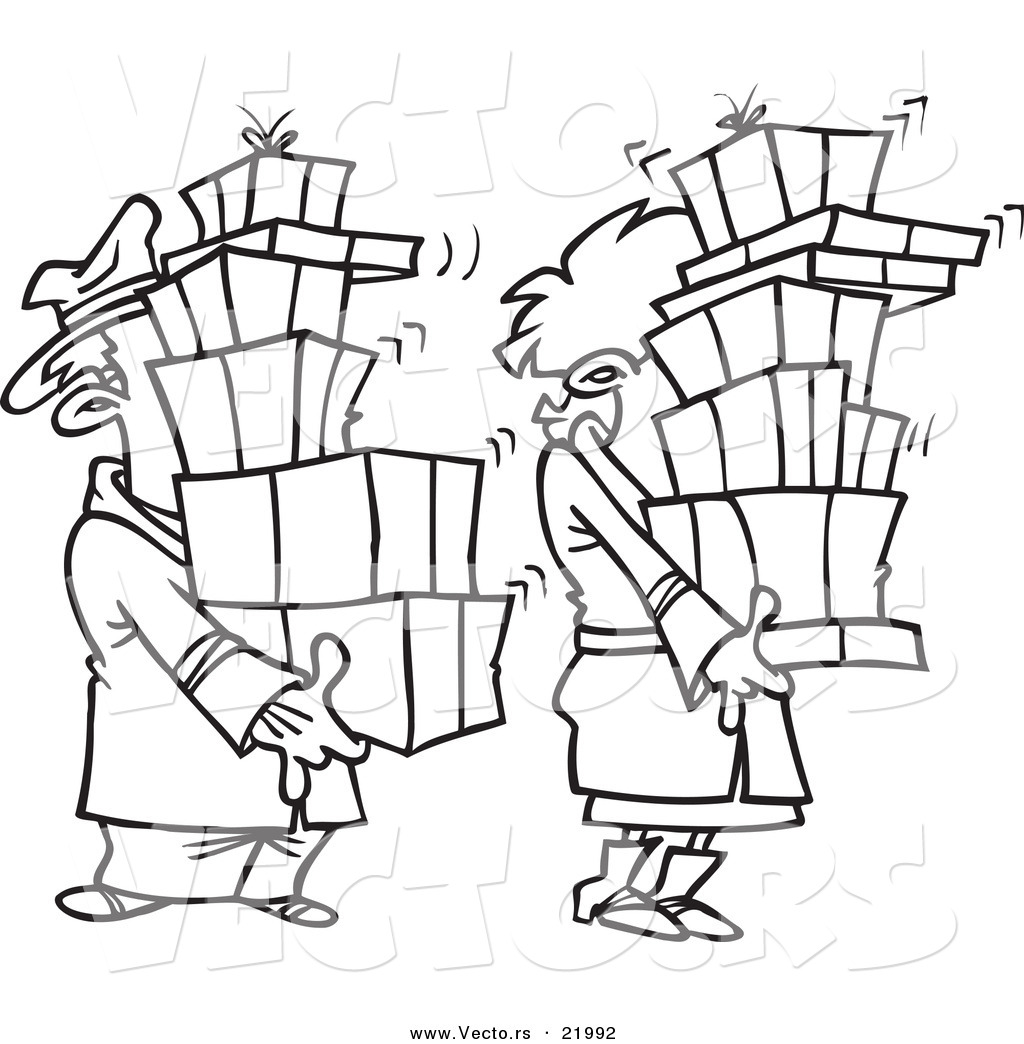 Vector Of A Cartoon Shaking Couple Carrying Packages