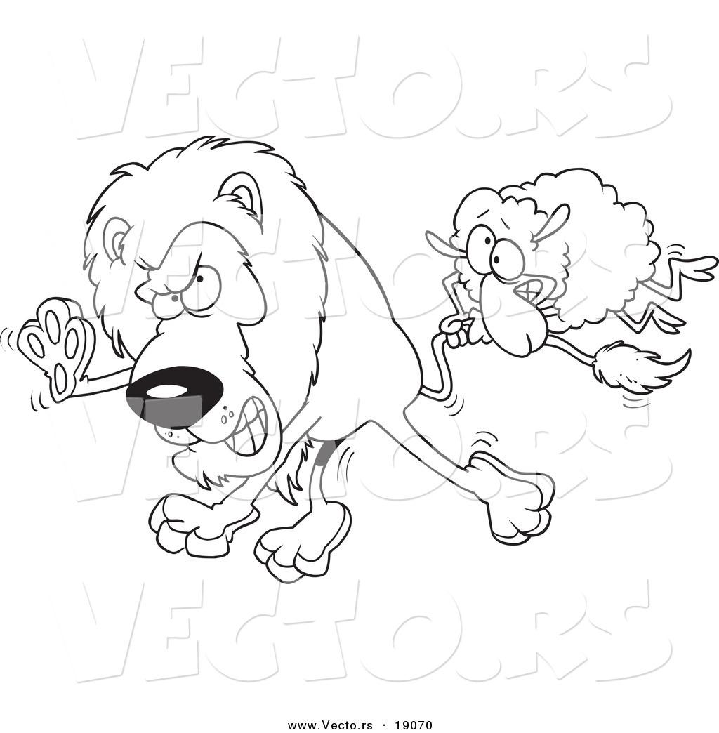 Vector Of A Cartoon Sheeping A Lion