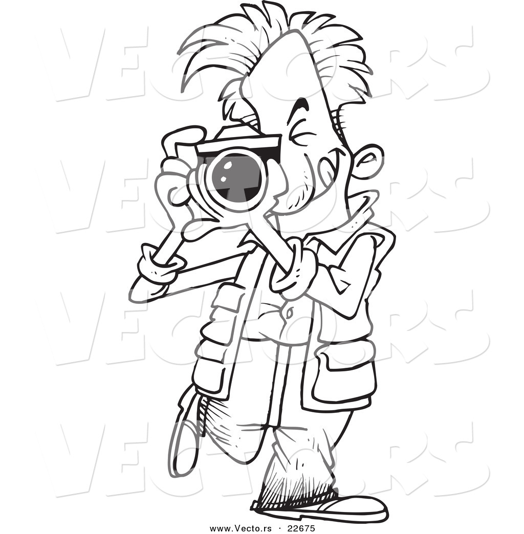 Larger Preview Vector Of A Cartoon Snappy Photographer