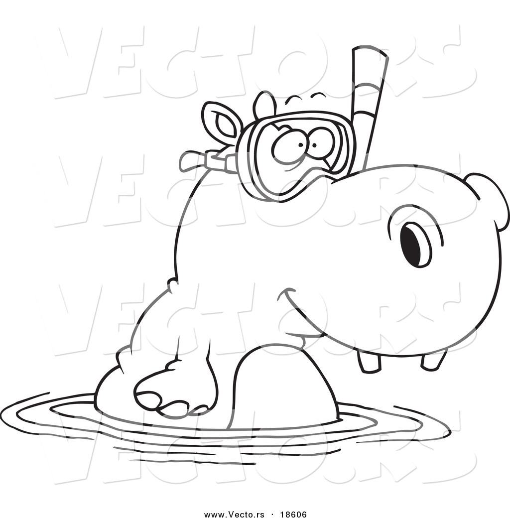 vector of a cartoon snorkeling hippo outlined coloring page by