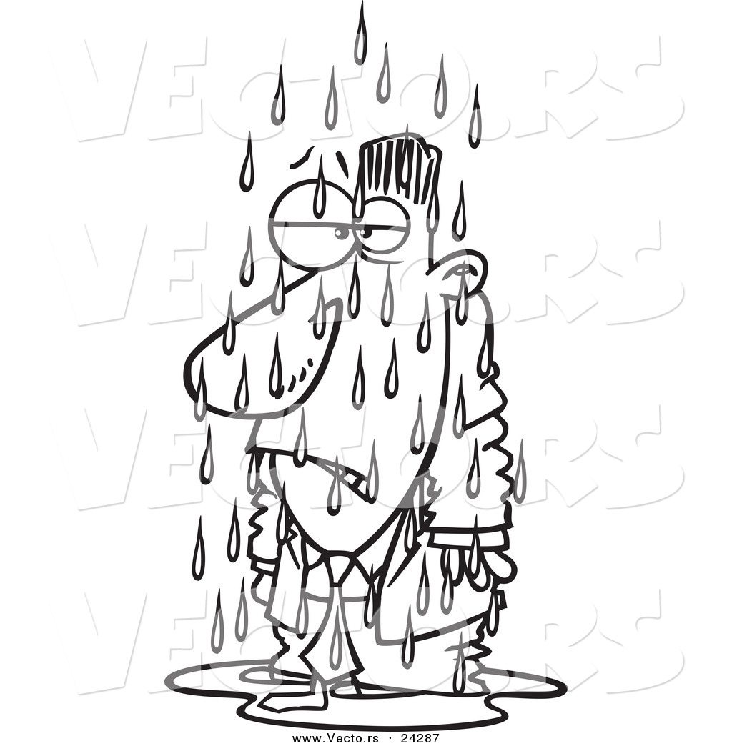 Vector Of A Cartoon Soaked Businessman Black And White Outline