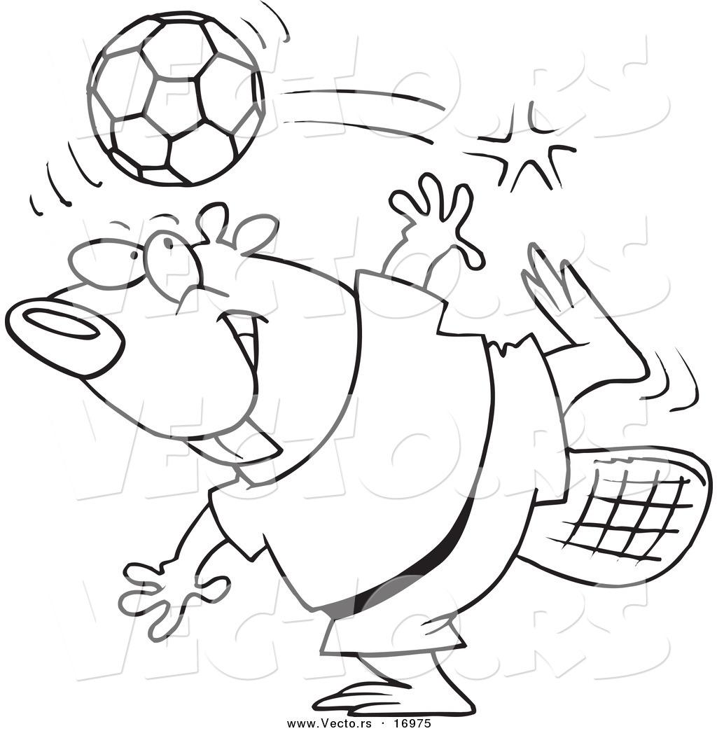 Vector Of A Cartoon Soccer Beaver