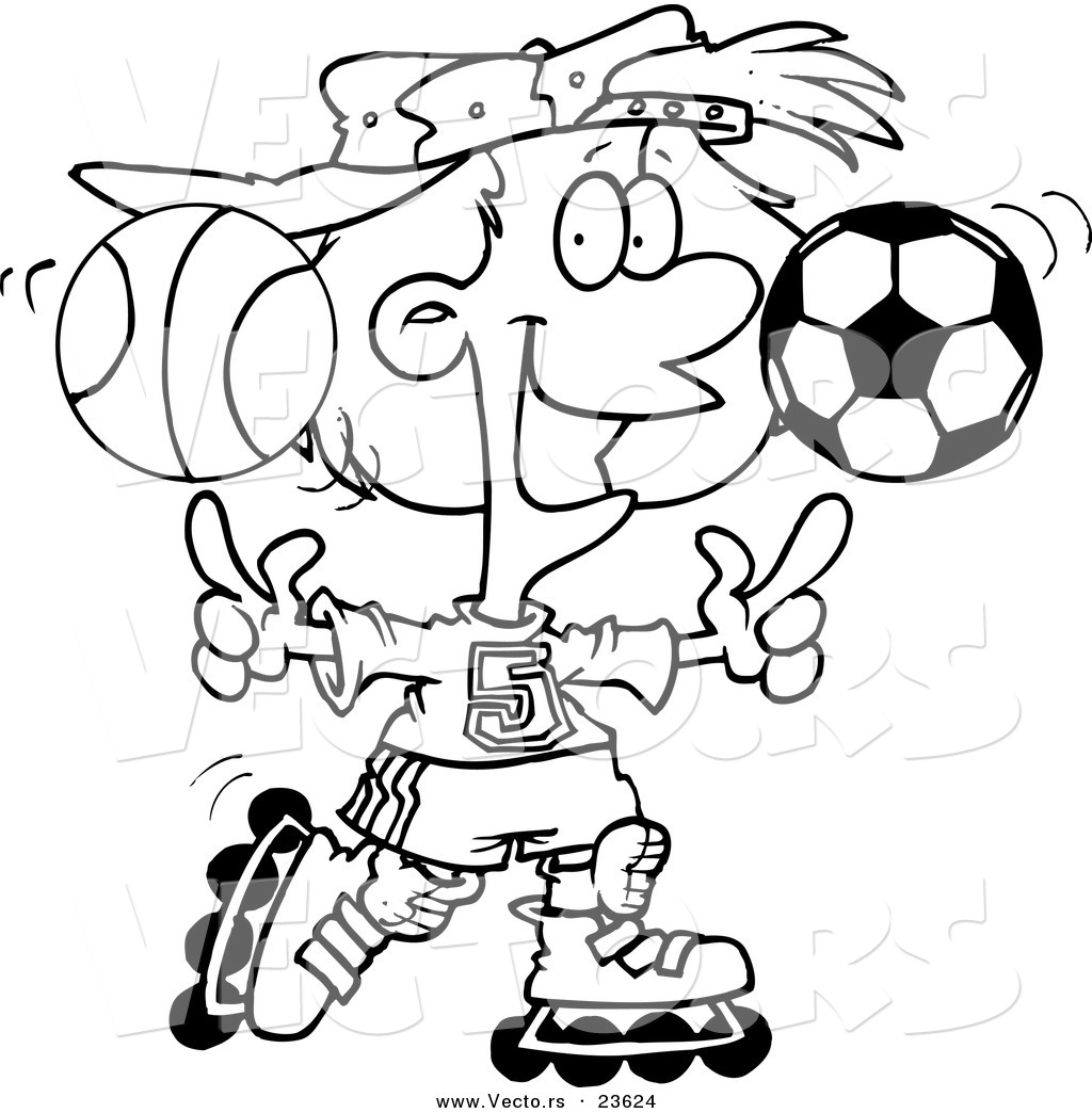 Vector Of A Cartoon Sporty Girl Roller Blading With A