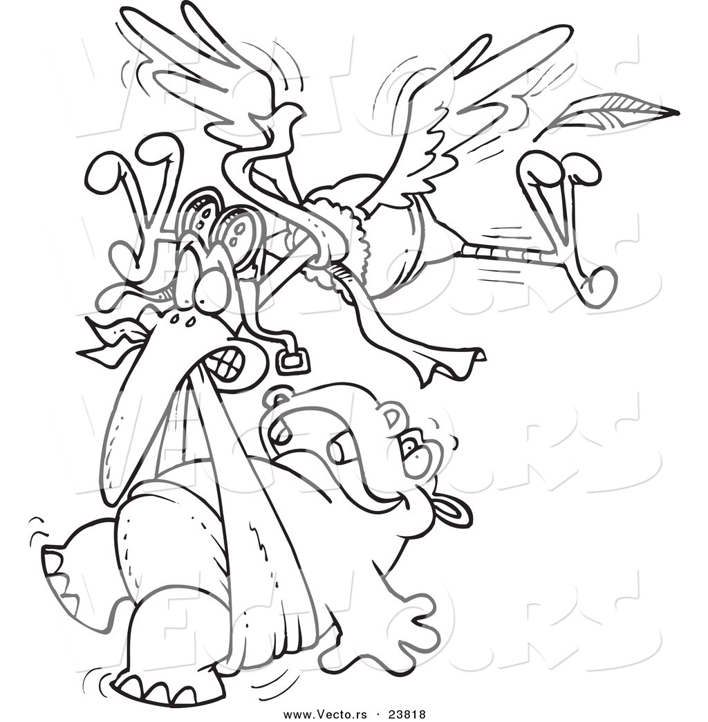vector of a cartoon stork delivering a baby hippo coloring page