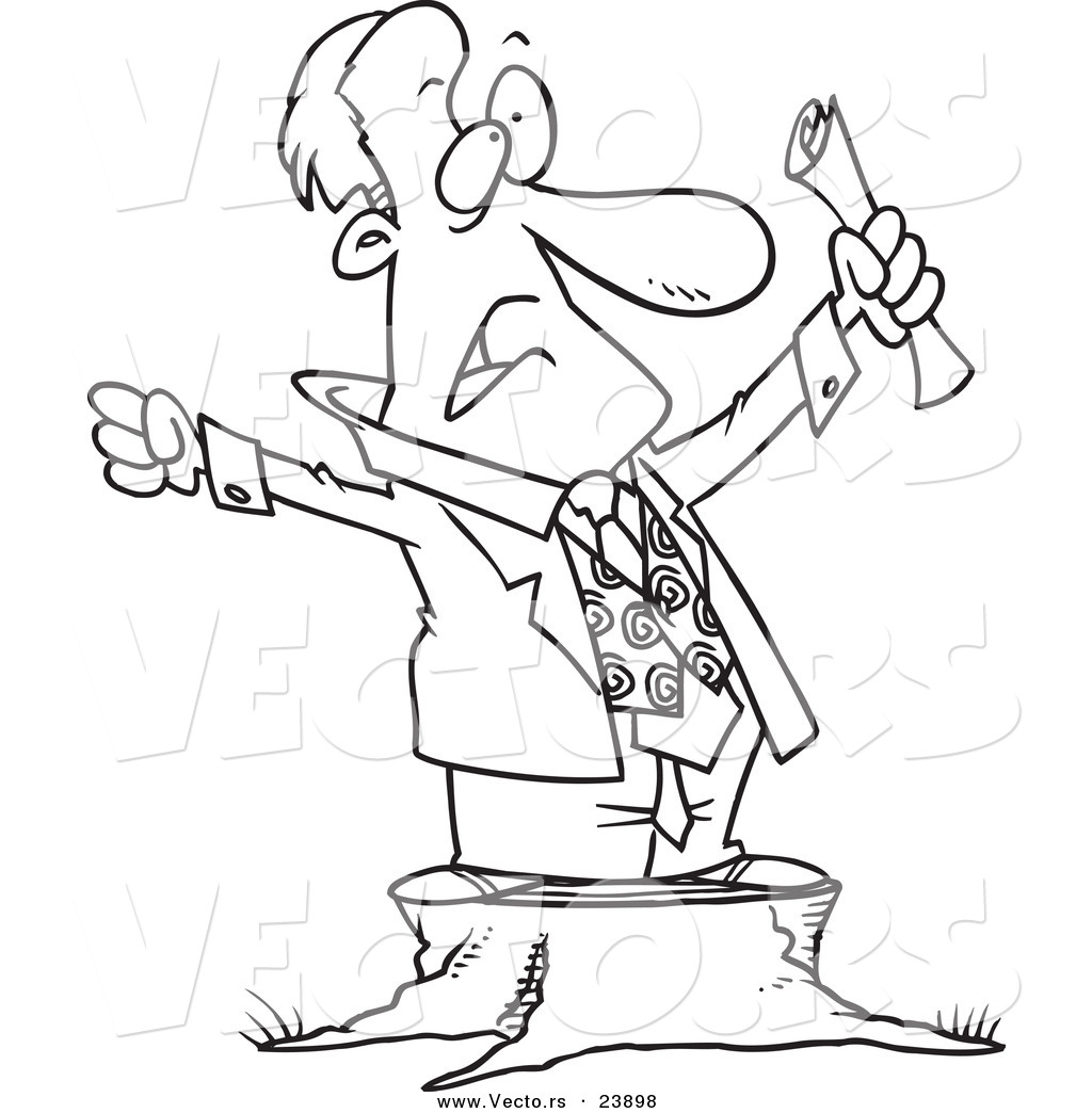 Vector Of A Cartoon Stumping Businessman