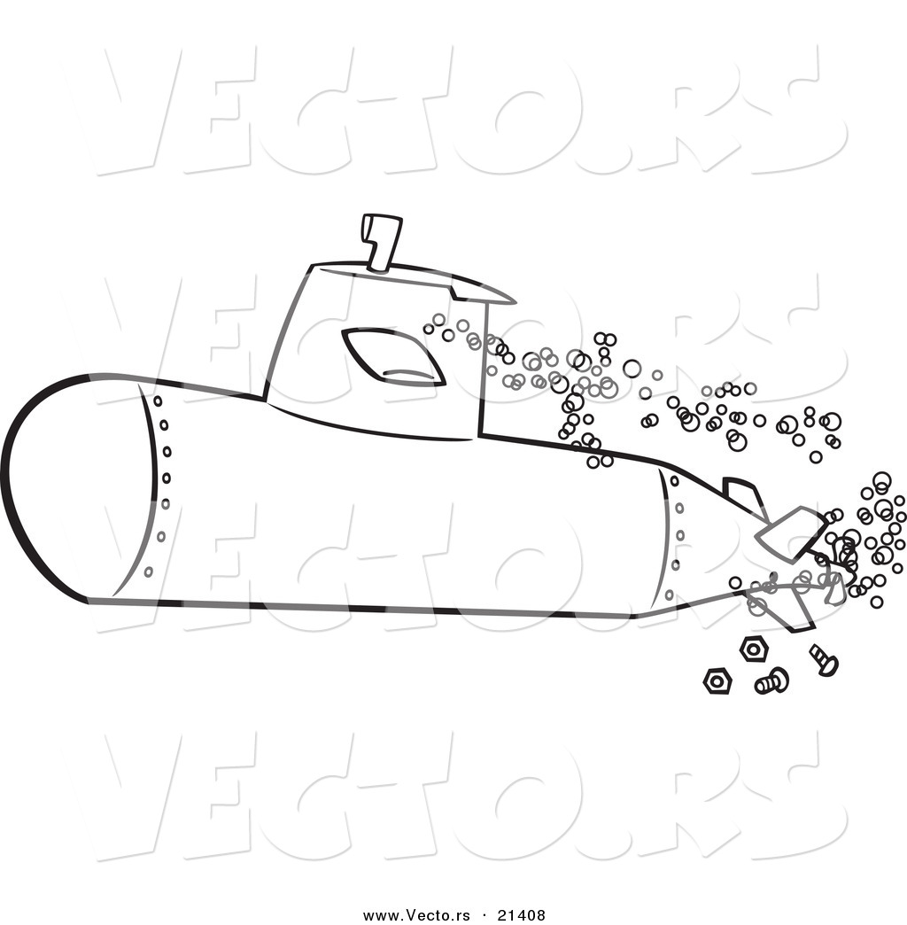 vector of a cartoon submerged submarine outlined coloring page