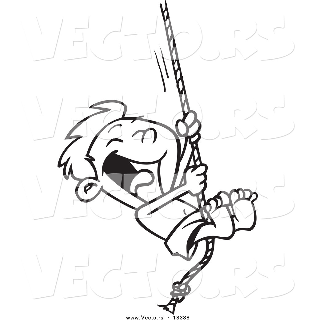 Vector Of A Cartoon Summer Boy On A Rope Swing