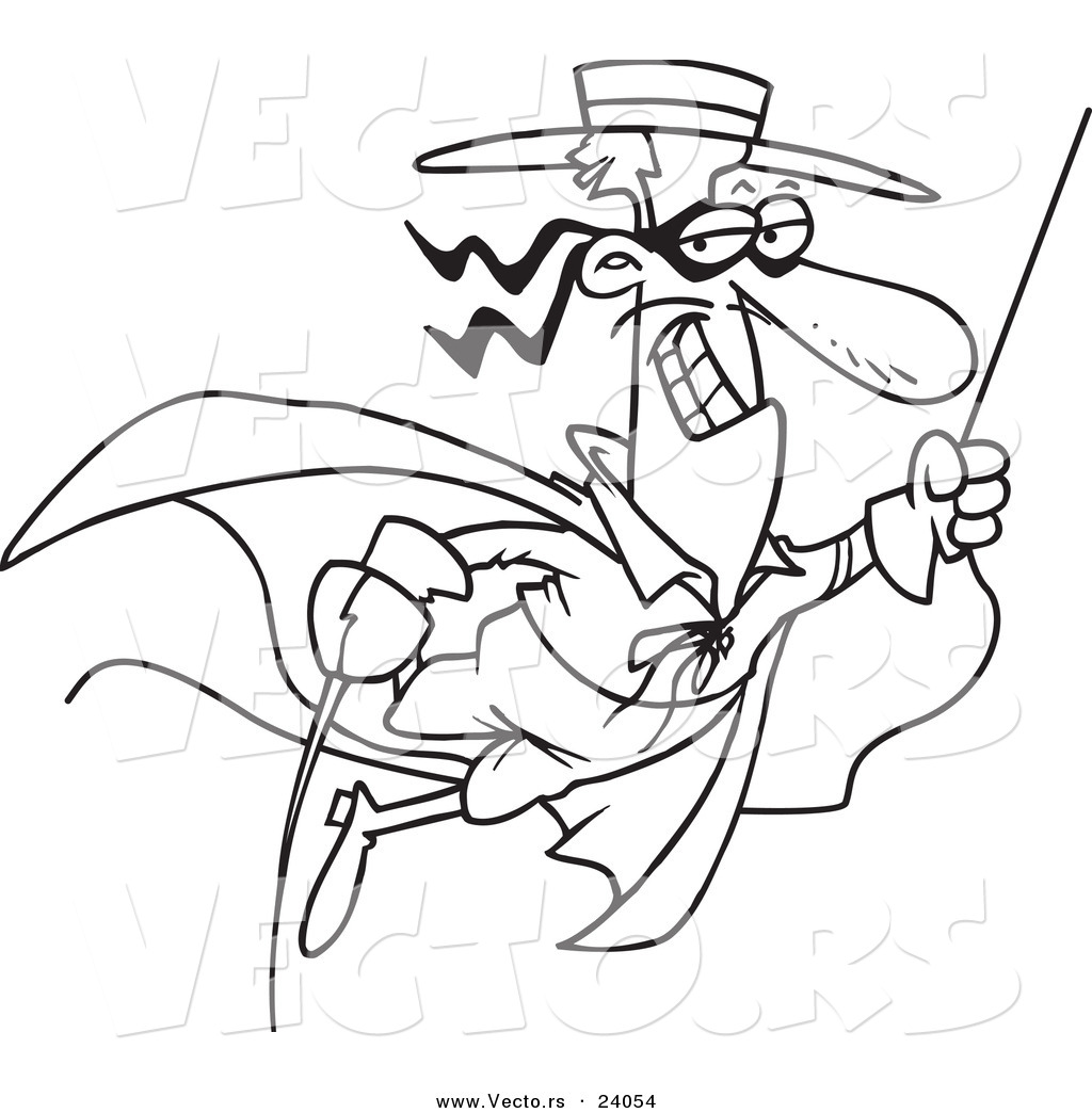 Vector Of A Cartoon Swinging Swashbuckler