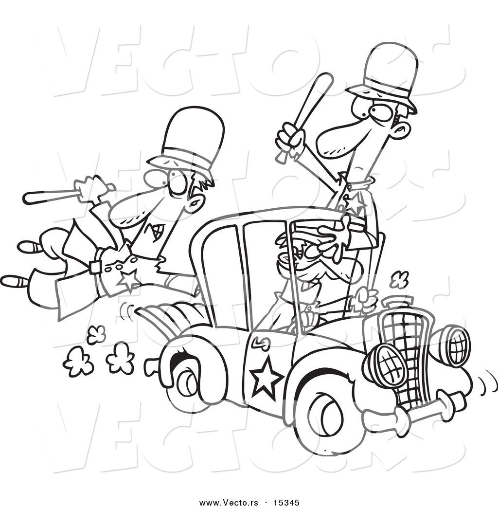 Vector Of A Cartoon Thief Stealing A Police Car