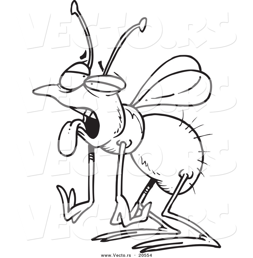 vector of a cartoon tired house fly coloring page outline by ron