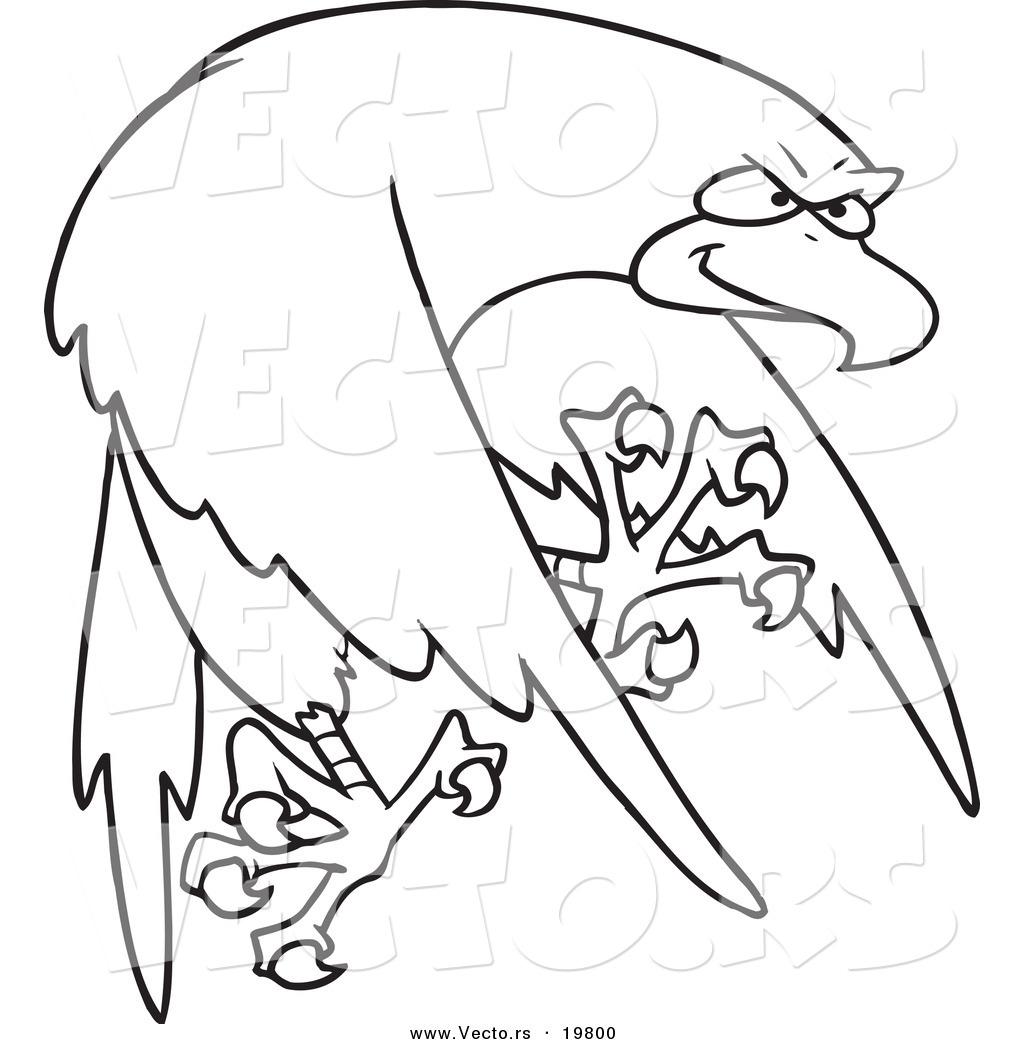 Vector Of A Cartoon Tough Falcon