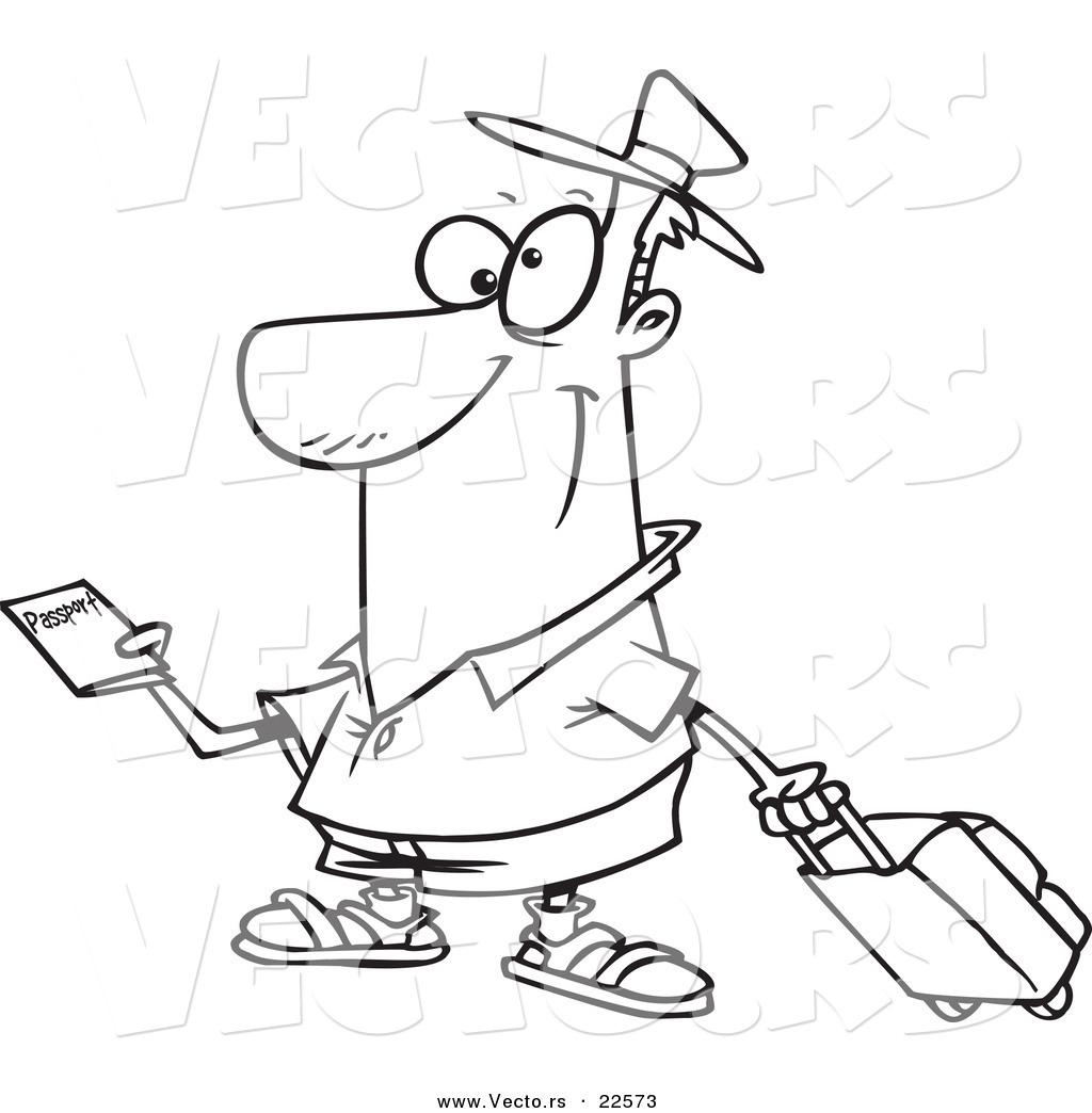 Vector Of A Cartoon Traveler Holding A Passport