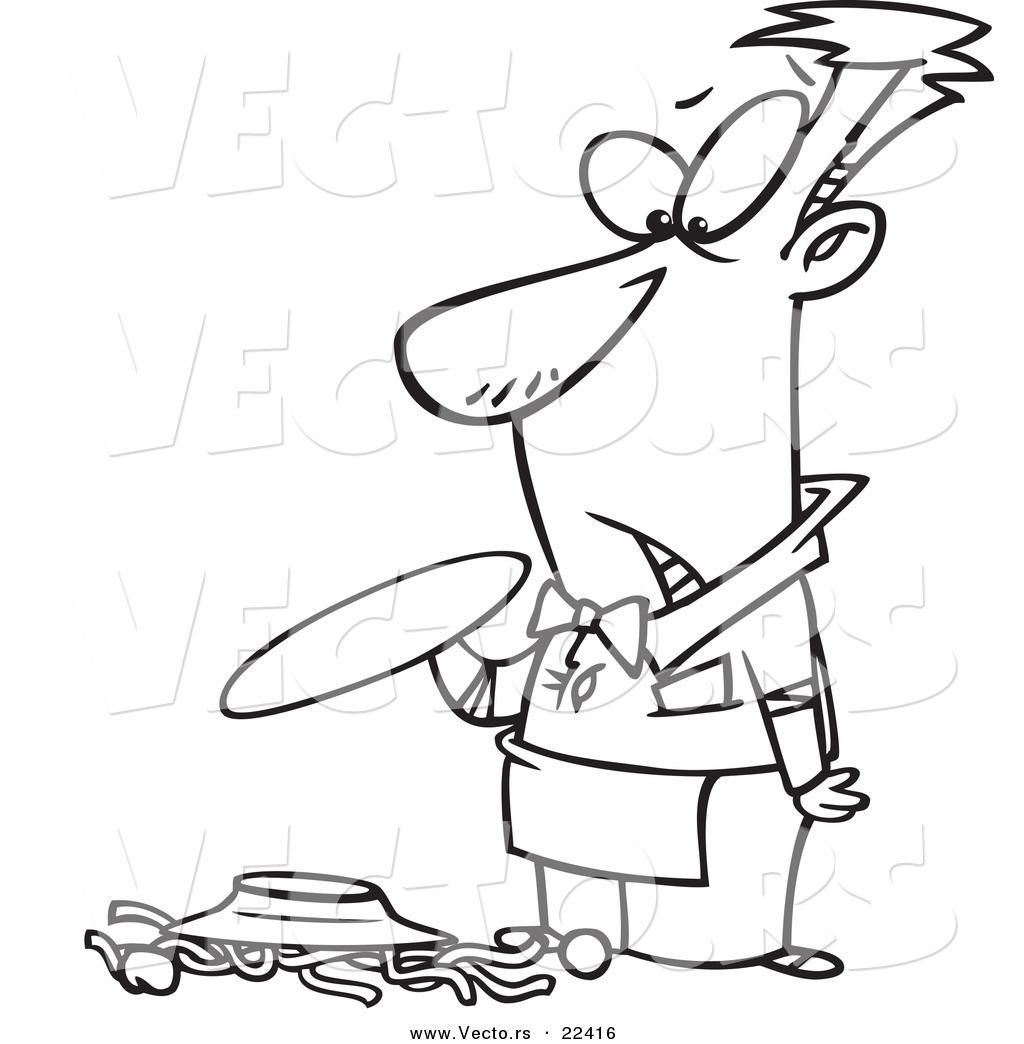 Vector Of A Cartoon Waiter Dropping Spaghetti