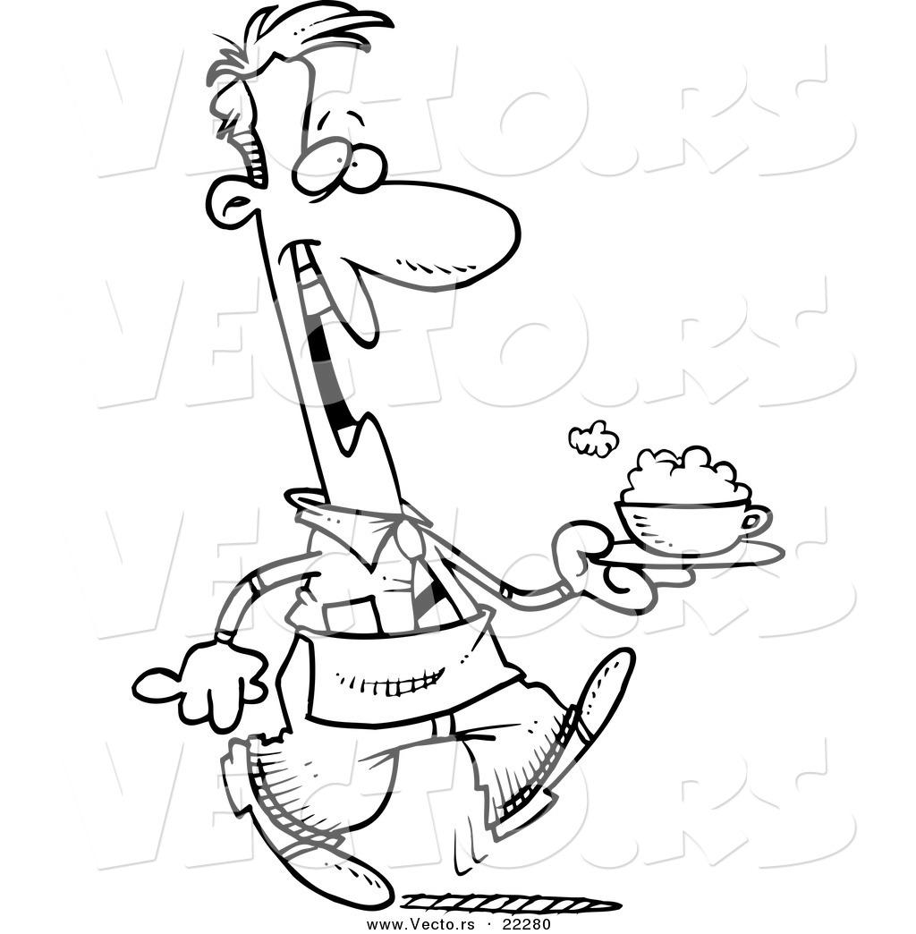 Vector Of A Cartoon Waiter Serving A Cappuccino