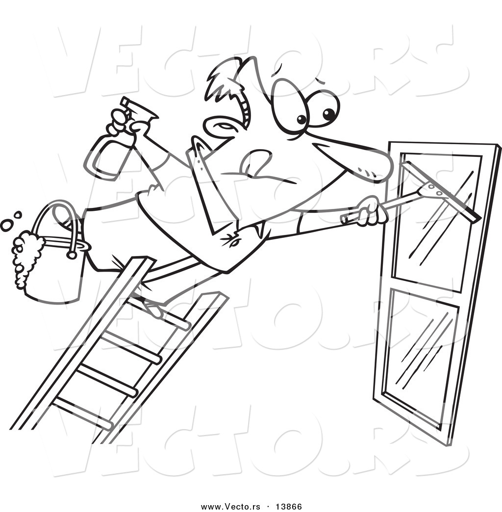 Vector Of A Cartoon Window Cleaner Leaning Far Over A