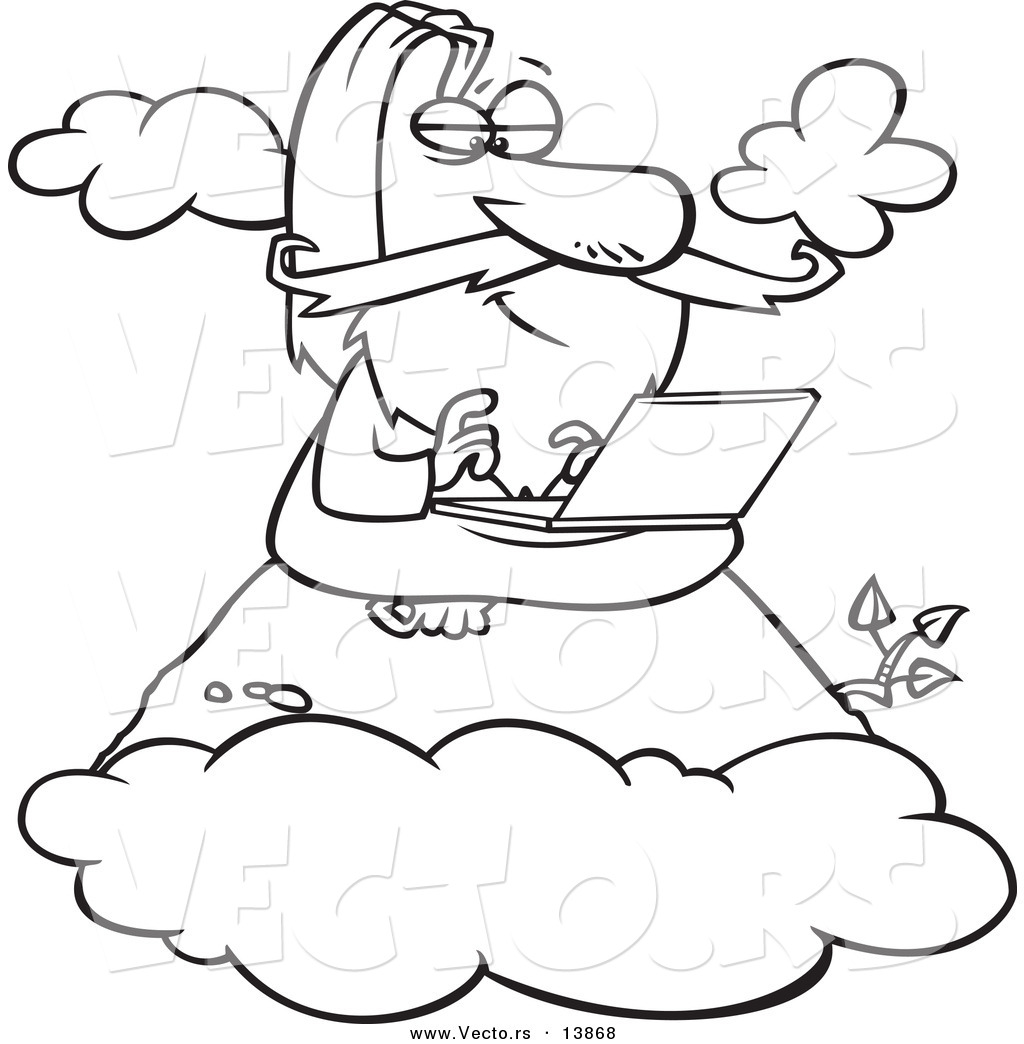 Vector Of A Cartoon Wise Man Using A Laptop On A Mountain