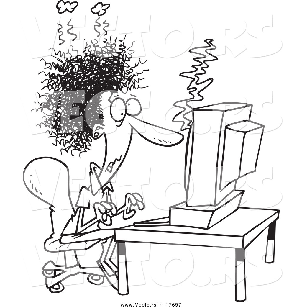 Vector Of A Cartoon Woman Covered In Soot At A Computer