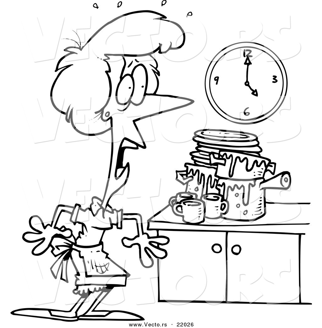 Vector Of A Cartoon Woman Panicking In A Messy Kitchen