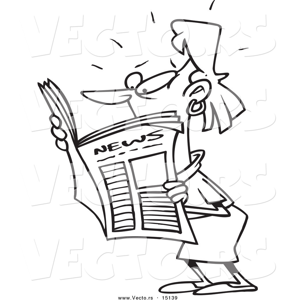 Vector Of A Cartoon Woman Reading Shocking News